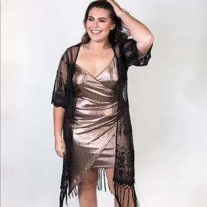 94f24acb18 Elara Luna Dresses - Plus Size Wrap Front Gold Metallic Dress
